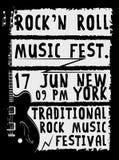 Hand gezeichnetes Rockfestivalplakat Rock-and-Rollzeichen Stockfotografie