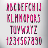 Hand gezeichnetes schmales rosa Alphabet Lizenzfreies Stockbild