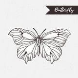 Hand gezeichnetes Schmetterlingslogodesign Vektorelement auf dem Schmutzhintergrund Lizenzfreie Stockfotografie