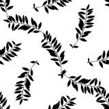 Hand gezeichnetes Schwarzweiss-Blatt silhouettiert nahtloses Muster stock abbildung