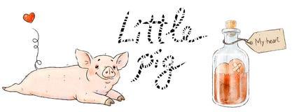 Hand gezeichnetes Schwein Nettes lustiges Ferkel und Liebestrank lokalisiert auf weißem Hintergrund Romantische Sammlungs-Illustr stockfotos