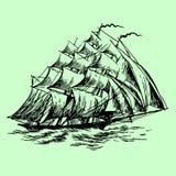 Hand gezeichnetes Segelboot Stockfoto