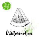 Hand gezeichnetes Skizzenart-Wassermelonendreieck schnitt Vektorillustration Frische Frucht des Bauernhofes lokalisiert auf weiße Stockfotos