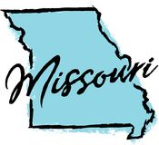 Hand gezeichnetes Staat Missouri-Design Stockfotos