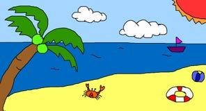 Hand gezeichnetes Strandgekritzel stock abbildung