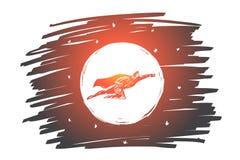 Hand gezeichnetes Superheldfliegen vor dem Mond stock abbildung