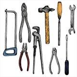 Hand gezeichnetes Tool-Kit Stockfotos