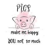 Hand gezeichnetes Typografieplakat mit kreativem Slogan: Schweine machen mich lizenzfreie abbildung