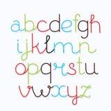 Hand gezeichnetes Vektoralphabet, Guss Lokalisierte Buchstaben und Zahlen geschrieben mit Stift stock abbildung