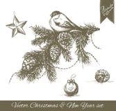 Hand gezeichnetes Weihnachts- und des neuen Jahressatz Lizenzfreies Stockfoto
