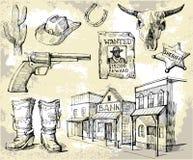 Hand gezeichnetes wildes Westenset Stockfotografie