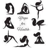 Hand gezeichnetes Yoga eingestellt mit Frauen Stockfotos