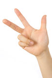 Hand gezeigter Finger drei Stockfotografie