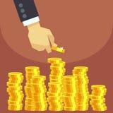 Hand gezette gouden muntstukken aan stapel vector bedrijfsfinanciënconcept Royalty-vrije Stock Foto's