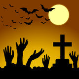 Hand ghosts rising from the grave on Halloween. Royalty Free Stock Photos