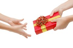 Hand a gift Stock Photo