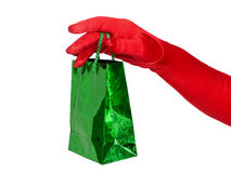 Hand with gift bag Royalty Free Stock Photos