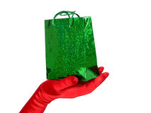 Hand with gift bag Stock Images