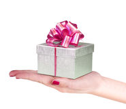 Hand with gift box. Woman hand with gift box Royalty Free Stock Photos