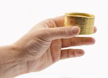 Hand with gift box Royalty Free Stock Photography