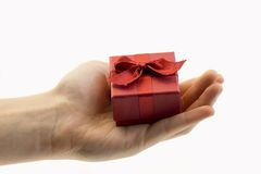 Hand with gift box Royalty Free Stock Image