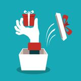 Hand with gift box vector concept in flat style Stock Images