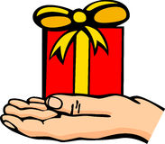 Hand with gift vector illustration. Vector illustration of a hand with a gift Stock Photo