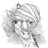 Hand giraffe in a hat. Vector illustration Royalty Free Stock Photo