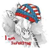 Hand giraffe in a USA hat. Vector illustration Royalty Free Stock Photography