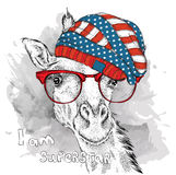 Hand giraffe in a USA hat. Vector illustration Stock Image