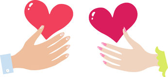 Hand of the girl with heart and a hand of the boy Stock Image