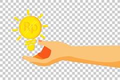 Hand - Give a Business Idea - Golden Rupiah Coin Stock Photos
