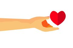 Hand - Give a Love to somebody, isolated on white Royalty Free Stock Photo