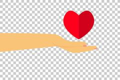 Hand - Give a Love at Transparent Effect Background Royalty Free Stock Image
