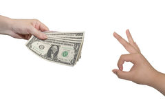 Hand give money dollars on white background Royalty Free Stock Photography