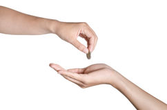 Hand give money on white background Royalty Free Stock Photo