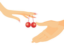 Hand gives cherry Royalty Free Stock Photo