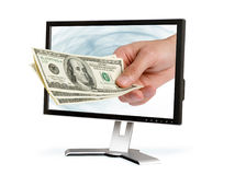 Hand gives dollars Stock Images