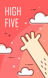 Hand gives five. Thin line flat design. Vector banner Royalty Free Stock Photo