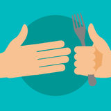 Hand gives a fork. Vector flat illustration Stock Photography
