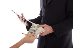Hand gives money to men Royalty Free Stock Photography