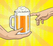 Hand gives mug of beer to other hand pop art Royalty Free Stock Photo