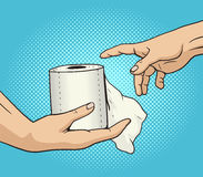 Hand gives a toilet paper to other hand pop art Royalty Free Stock Photography