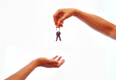 Hand giving away house keys Royalty Free Stock Image