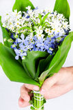 Hand giving a bouquet of spring flowers Royalty Free Stock Photography