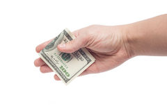 Hand giving bribe 100 USD Royalty Free Stock Image