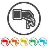 Hand giving car keys, Car Sharing icon, 6 Colors Included. Simple vector icons set Royalty Free Stock Photography