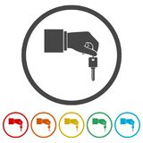 Hand giving car keys, Car Sharing icon, 6 Colors Included. Simple vector icons set royalty free illustration