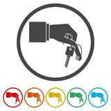 Hand giving car keys, Car Sharing icon, 6 Colors Included. Simple vector icons set Royalty Free Stock Image