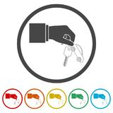 Hand giving car keys, Car Sharing icon, 6 Colors Included. Simple vector icons set Stock Image